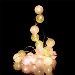 Grossiste guirlande 20 LED aux boules rose et dorées - 4x372cm
