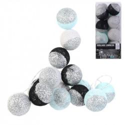 Grossiste guirlande 16 LED aux boules noires, blanches et vertes pailletées - 6x300cm