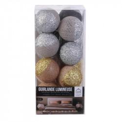 Grossiste guirlande 16 LED aux boules marron et grises pailletées - 6x300cm