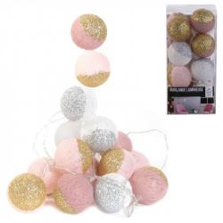 Grossiste guirlande 16 LED aux boules rose et blanches pailletées - 6x300cm