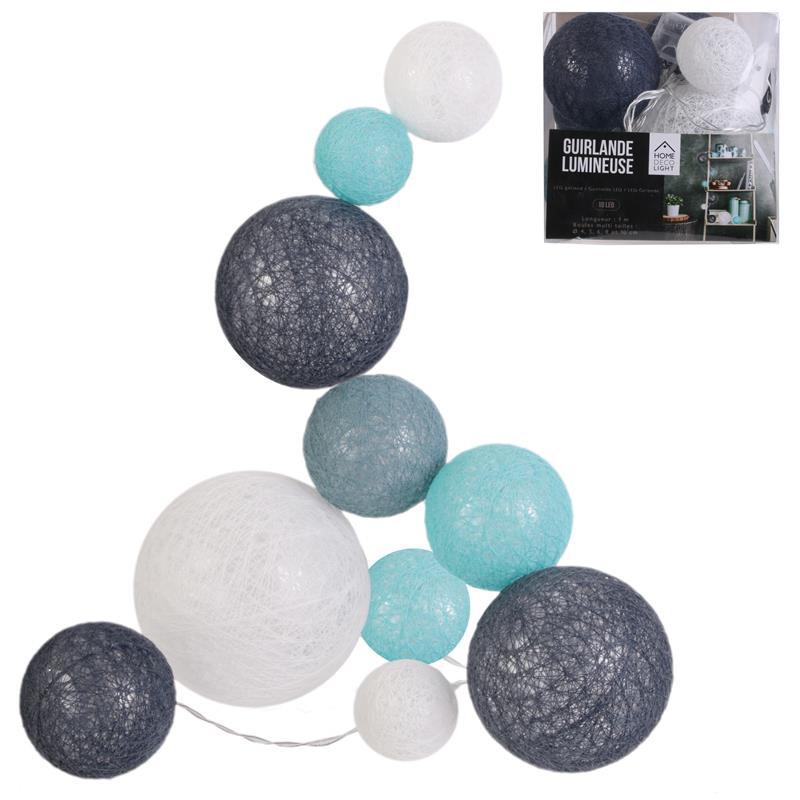 Grossiste guirlande 10 LED aux boules multi-taille bleues, grises et blanches - 100cm