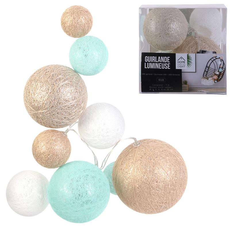 Grossiste guirlande 10 LED aux boules multi-taille bleues, blanches et beiges - 100cm