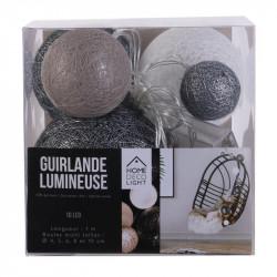 Grossiste guirlande 10 LED aux boules multi-taille grises et blanches de 100cm