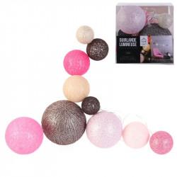 Grossiste guirlande 10 LED aux boules multi-taille rose, marron et beiges de 100cm