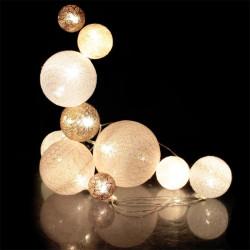 Grossiste guirlande 10 LED aux boules multi-taille rose et blanches de 100cm