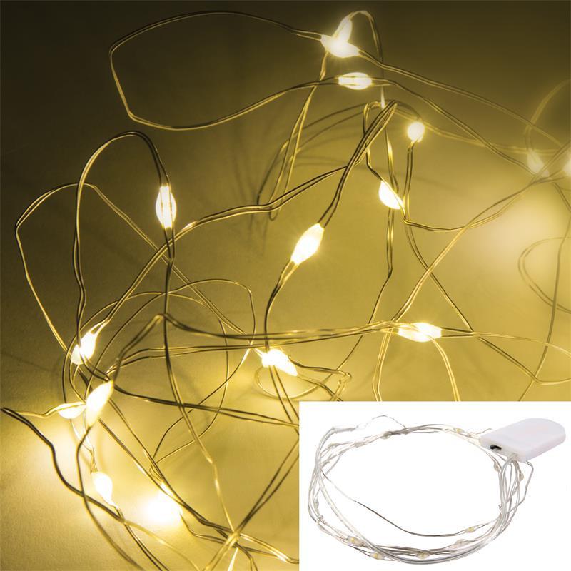 Grossiste guirlande en métal 20 LED cr2032 à l'éclairage chaud - 230cm