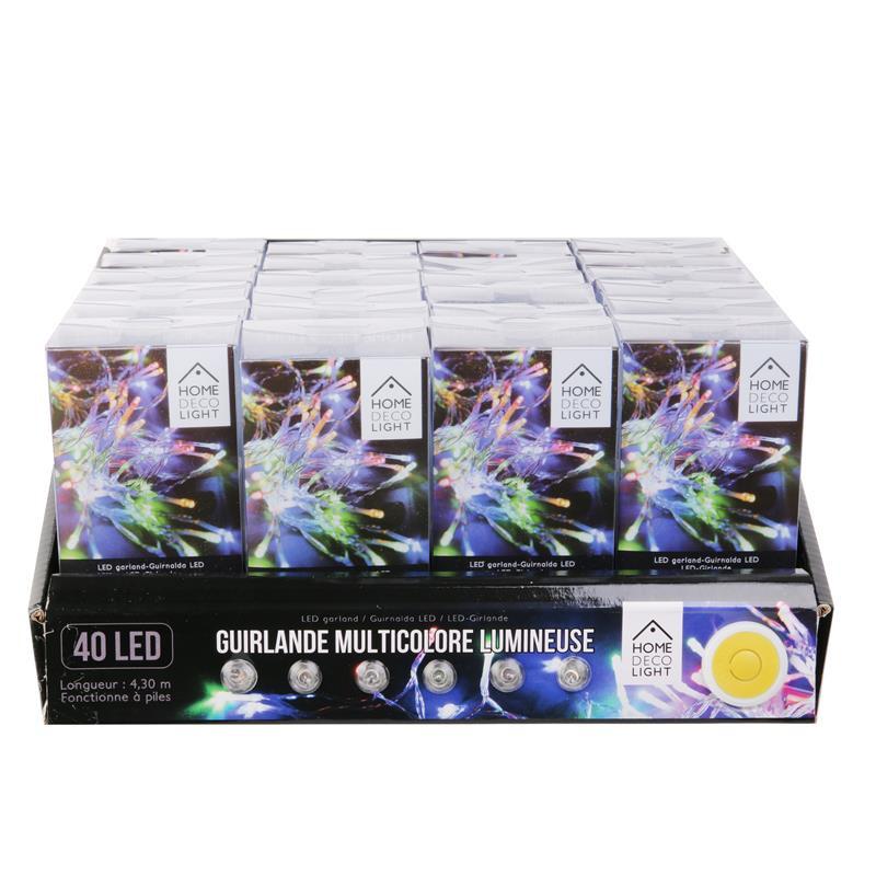 Grossiste guirlande 40 LED multicolore à piles de 430cm