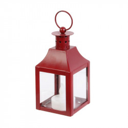 Grossiste bougie LED style lanterne 12x6x6cm rouge