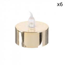Grossiste bougie LED de table métallique 3.5x3.8cm dorée