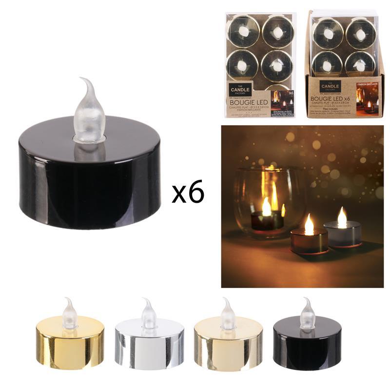 Grossiste bougie LED de table métallique 3.5x3.8cm x6
