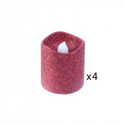 Grossiste bougie LED de table à paillettes 4.2x3.8cm rouge