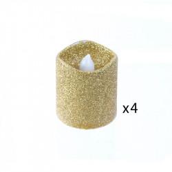 Grossiste bougie LED de table à paillettes 4.2x3.8cm dorée