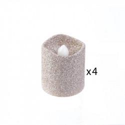 Grossiste bougie LED de table à paillettes 4.2x3.8cm beige
