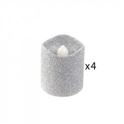 Grossiste bougie LED de table à paillettes 4.2x3.8cm argentée