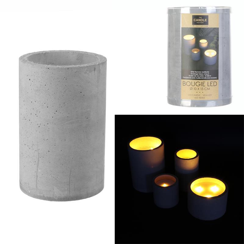 Grossiste bougie LED avec base en ciment 15x10cm