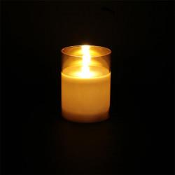 Grossiste bougie LED en verre ambré 10x7.5cm