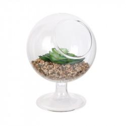 Grossiste plante artificielle en verre à pied 13.5cm