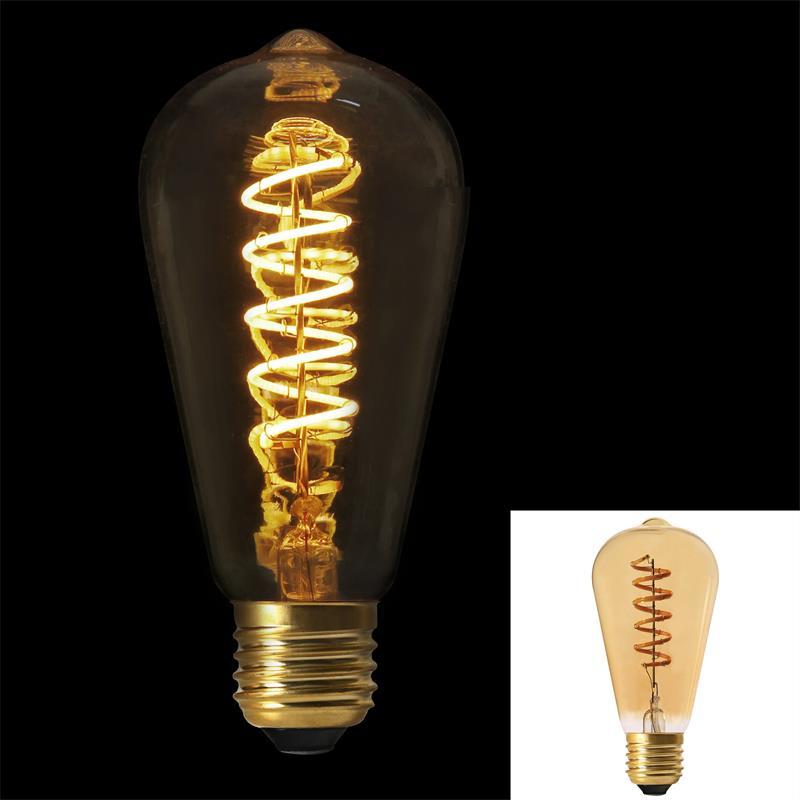 Grossiste ampoule st64 e27 avec led spiral ambré 2w
