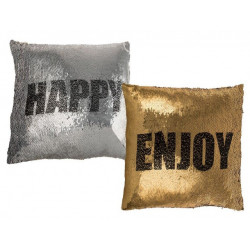 Grossiste coussin à sequin  message changeant happy ou enjoy