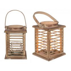 Grossiste lanterne en bois avec photophore en verre de 22 cm