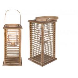Grossiste lanterne en bois avec photophore en verre de 52 cm