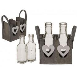 Grossiste boite décorative en bois et ses 2 bouteilles