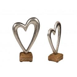 Grossiste coeur en métal sur socle en bois de 17 cm