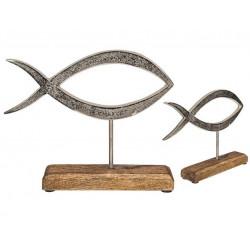 Grossiste poisson en métal sur socle en bois de 13 cm