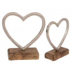 Grossiste coeur en métal sur socle en bois avec message