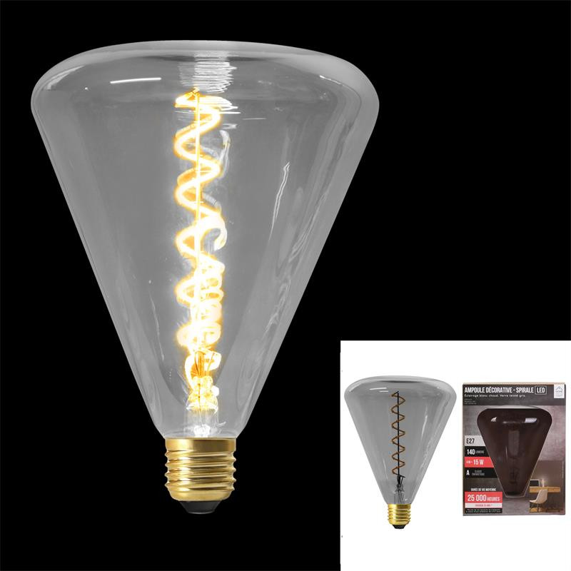 Grossiste ampoule pyramidale 145x190mm e27 gris 4w