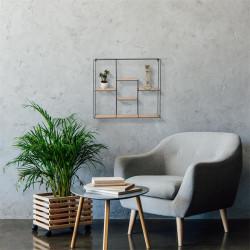 Grossiste étagère carrée à 5 plateaux en bois et métal