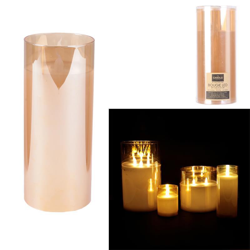 Grossiste bougie LED en verre ambré 17.5x7.5cm