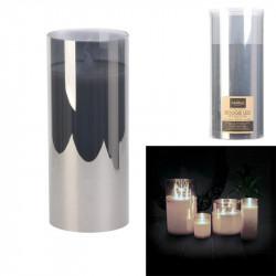 Grossiste bougie LED en verre gris fumé 17.5x7.5cm