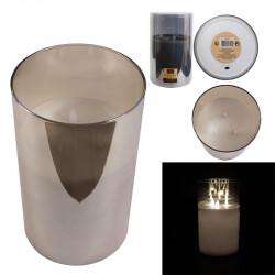 Grossiste bougie LED en verre gris fumé  25x15cm