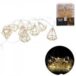 Grossiste guirlande métallique avec 10 LED en forme de diamant doré