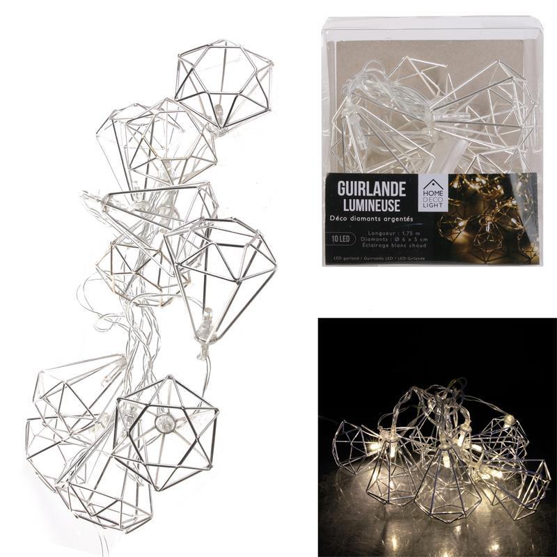 Grossiste guirlande métallique 10 LED en forme de diamant argent