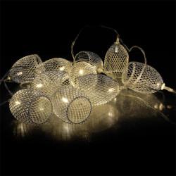 Grossiste guirlande métallique 10 LED avec cage en argent