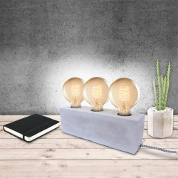 Grossiste lampe à poser rectangulaire finition ciment avec interrupteur