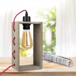 Grossiste lampe à poser avec cadre en bois et câble en textile rouge