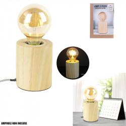 Grossiste lampe à poser cylindrique en bois avec câble gris et blanc