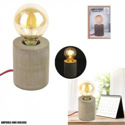 Grossiste lampe à poser cylindrique en bois avec câble rouge