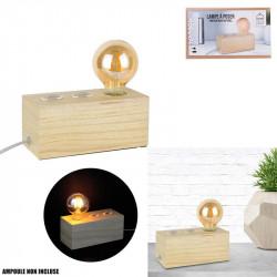 Grossiste lampe à poser rectangulaire en bois avec câble gris et blanc