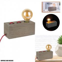 Grossiste lampe à poser rectangulaire en bois avec câble rouge