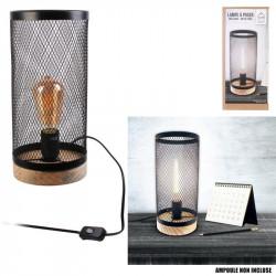 Grossiste lampe à poser cylindrique avec grille métallique noire