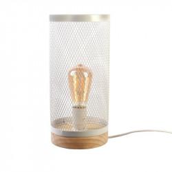 Grossiste lampe à poser cylindrique avec grille métallique blanche