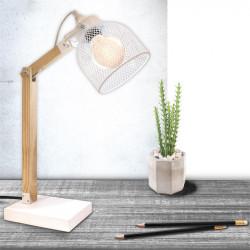 Grossiste lampe à poser avec grille métalique blanche