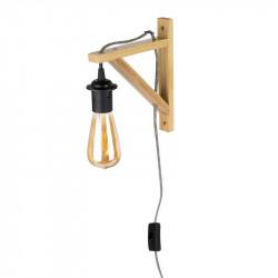 Grossiste lampe murale en bois avec câble noir et blanc
