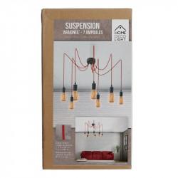 Grossiste suspension araignée 7 lumières modulable rouge