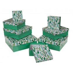 Grossiste lot 8 boîtes cadeau à motif cactus