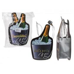 Grossiste sac cadeau motif bouteille de 35 cm